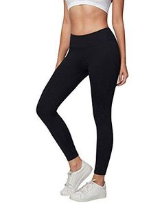2a677267d5 AJISAI Womens Workout Leggings High Waist Tummy Control Yoga Running Pants  Color Black Size XL
