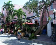 Espanola Way in Miami. Looks like Manayunk with a Spanish feel. Has Cuban and French restaurants among others.