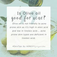 Do not use olive oil if your skin is prone to spots and acne. Want to know why? Click above to learn all... including the right oils to use for fighting spots and bad skin.