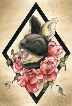 HA! I love this because this looks like my fuzznugget (bunny) and I know I'd want something in this style on my skin. Tattoo inspiration #rabbit #tattoo