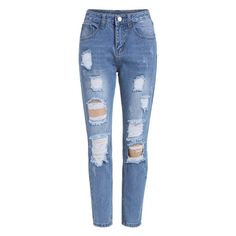 Ripped Denim Blue Pant (65 PEN) ❤ liked on Polyvore featuring jeans, bottoms, pants, calças and romwe