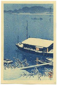 Kawase HASUI Japanese Woodblock Print Snow on River 1930 | eBay