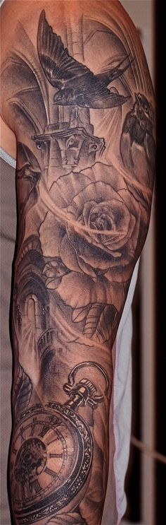 Sleeve tattoo clock black