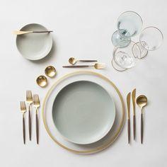 Gold Halo Charger + Heath Ceramics in Mist + GOA 24K Gold & Wood Flatware + 14K Gold Salt Cellars + Chloe Gold Rimmed Stemware & Chloe Gold Rimmed Stemware in Tiffany   Casa de Perrin Design Presentation