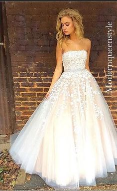 Gorgeous Strapless Long Prom Dress, White Lace Prom