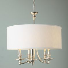 Springfield Linen Shade Chandelier  5 Light - 3 Finishes! - polished nickel 26.5x25.5 - 5x60 watts - $559 Shades of Light