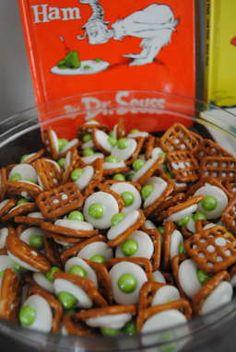 Dr Seuss party Green Eggs with Ham chocolate pretzel snack. http://randomrecycling.com/a-recipe-for-green-eggs-and-ham/