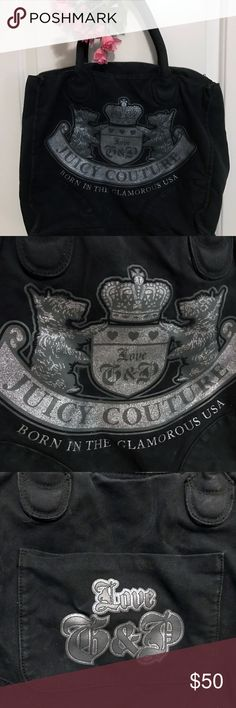 Juicy Couture Black Tote Bag ★WELCOME TO MY LISTING!★ ~~~~~~~~~~~~~~~~~~~~~~~~~~~~~~~~ - Genuine Authentic Juicy Couture tote bag. - Was originally purchased brand new from Von Maur. - Has been carried several times, but is in good shape and has love left to give. - Features inside zippered pocket. - Features large outside pocket on backside of bag. - Does have some minor wear, visible in the second to last photo. - Durable material, and could probably be machine washed, though I have not…