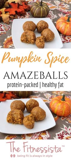 These pumpkin protein balls are the perfect seasonal healthy snack! They pack a punch of protein and healthy fat in delicious dessert-like bites. fitnessista.com Protein Dinner, Healthy Protein Snacks, Protein Bites, Protein Foods, Healthy Treats, Energy Bites, High Protein, Protein Energy, Protein Cookies