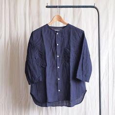 jujudhau - Round Neck Shirt #linen chambray
