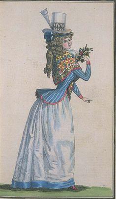 Journal de la Mode et du Gout, February 1790. 1. Her hat is fabulous 2. Her kerchief is glorious 3. STRIPES! 4. SHOES!
