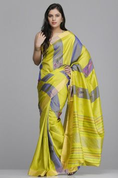 Lime Green And Purple Striped Pure Silk Saree With Pink & Gold Leaf Pattern And Gold Zari Border