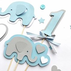 Set of Elephant Centerpieces Boy Baby Shower Centerpieces Blue Gray Its a Boy Centerpiece First Birthday Table Decorations Elephant Centerpieces, Baby Shower Table Centerpieces, Birthday Table Decorations, Baby Shower Decorations For Boys, Boy Baby Shower Themes, Baby Boy Shower, Baby Shower Table Set Up, Cricut Baby Shower, Baby Shower Checklist