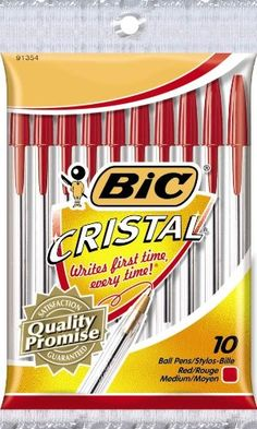 BIC Round Stic Ball Pens, Medium Point, Red, 10 Pens BIC,http://www.amazon.com/dp/B00006IZSI/ref=cm_sw_r_pi_dp_qvtwtb1HN7N292T7