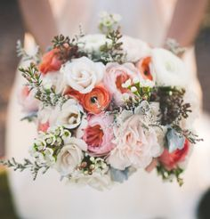 coral and peach rustic floral bouquet