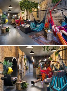 Bright colors in the rugs and hammocks, as well as the hanging plants, liven up this juice bar. While the hammocks can swing around to chat to your hammock neighbor. ideas This Juice Bar In Spain Is Filled With Hammocks Cafe Interior Design, Cafe Design, House Design, Studio Design, Design Design, Backyard Hammock, Backyard Patio, Hammock Ideas, Backyard Ideas