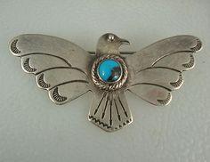 Old Fred Harvey Era Navajo Stamped Silver Turquoise Thunderbird Pin | eBay