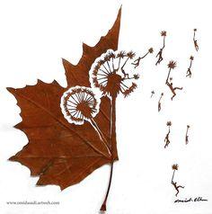 """落ち葉に新たな命を吹き込んだ…驚くほど繊細な""""切り絵アート""""が美しい!"""