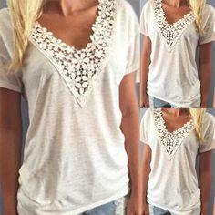 Fashion Lace Applique Casual T-shirt