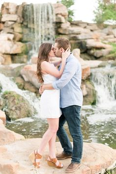 Engagement session in front of a waterfall // Lori Lynn Photography