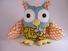 """Owl """"softie"""" made from leftover fat quarters"""