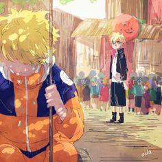 Naruto young and boruto. I love this pic!❤ If only Boruto saw Naruto in the past then he would understand what Naruto went through to become the person he is now. Anime Naruto, Naruto Comic, Naruto Fan Art, Naruto Shippuden Sasuke, Naruto And Sasuke, Naruto Cute, Naruto Gaiden, Sasunaru, Naruhina
