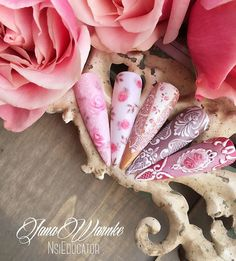 Stunning Vintage inspired nail art. One Stroke nail art, lace pattern and stunning florals inspire vintage nails.