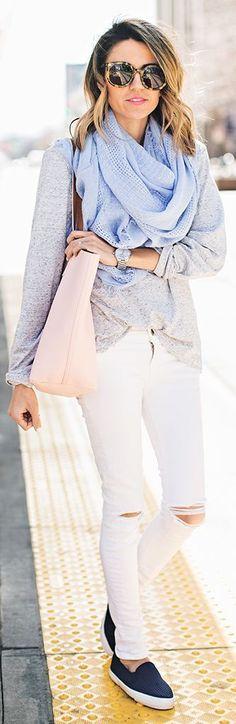 scarf + white ripped jeans + grey blazer