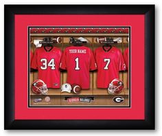 [[start tab]] Description Our officially licensed University of Georgia Bulldogs Personalized Locker Room Print puts you in the middle of the action, and allows you to rub shoulders with your favorite