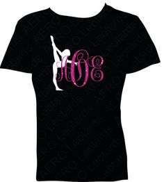 Gymnastics Personalized Custom Glitter Monogram T-shirt with Your Initials Gymnast Gymnastic Shirt T-shirt girls gift on Etsy, $22.95