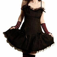 Hearts /& Roses London Nero Gotico Emo Punk Halloween Swing Abito Lungo in Pizzo Uk
