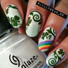 The Principles Of St Patrick's Day Nails Easy Lamps You Will Be Able To Learn From Starting Right Away 110 Seasonal Nails, Holiday Nails, Christmas Nails, Crazy Nails, Fun Nails, Birthday Nail Art, Nailart, St Patricks Day Nails, Manicure E Pedicure