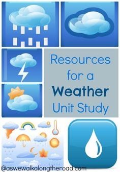 Planning a weather unit study? Here are some books and resources to help. Weather Activities for Kids Weather Kindergarten, Teaching Weather, Preschool Weather, Weather Science, Weather Unit, Weather And Climate, Kindergarten Science, Science Classroom, Weather Crafts