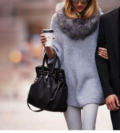 Fur neck warmer - gray