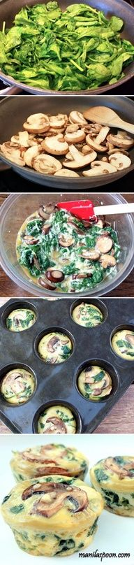 Quiche de espinafre com cogumelos. Spinach Quiche Cups by yummyfooddrink: Breakfast-on-the-go for the week! Breakfast And Brunch, Breakfast Recipes, Breakfast Quiche, Breakfast Ideas, Breakfast Cups, Muffin Recipes, Breakfast Cupcakes, Quiche Recipes, Health Breakfast