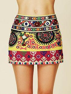 embroidered skirt.