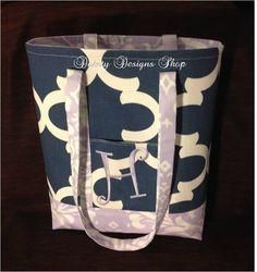 "MARCH SALE - 12"" x 14"" Cadet Quatrefoil Tote Bag with Coordinating Lavender Damask - FREE Lavender Monogram by daintydesignsshop on Etsy"