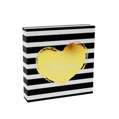Mary Square Gold Heart Wood Block