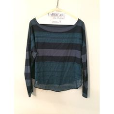 Free People Top Navy and light blue strips with shear lace accents Free People Tops