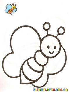 bijen met het monster Kleurplaten | KLEURPLATEN MET VOORBEELDEN | Tekening van een bij met een voorbeeld verf | kleurplaten.8a8.co