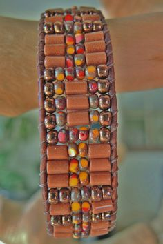 Unisex RUSTIC GOLDSTONE Leather Bracelet by BraceletsofBlueRidge, $72.00