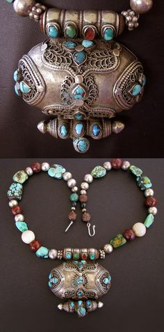 Antique Tibetan Gau - Prayer Box Necklace, Tibetan Heirloom Turquoise, Translucent Giant Clam,Bodhi Seed,84Grams-jasmineium