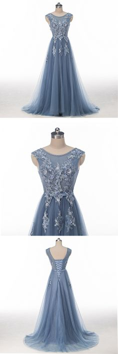 Lace Beaded Dusty Blue Scoop Neckline Evening Prom Dresses, Long Sexy Party Prom Dress, Custom Long Prom Dresses, Cheap Formal Prom Dresses, 17134