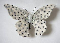 Yumi Okita Fiber Art -Large black and white butterfly textile art White Butterfly, Butterfly Art, Butterfly Painting, Fabric Art, Fabric Crafts, Cotton Fabric, Colorful Moths, Bordados E Cia, Insect Art