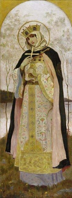 Mikhail Nesterov ~~~ I'm beginning to see a distinct continuum between the style adopted by many children's book illustrators, and Christian painting and iconography. <3