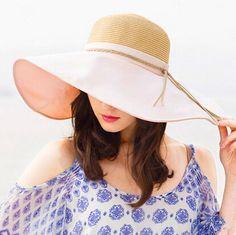 Womens stitching wide brim straw hat for summer travel floppy sun hats