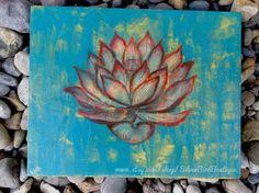 Flower Art Canvas, Bright Drawing, Lotus Artwork, Home Wall Art, Bright Orange Blue, Original, Home Decor, Mixed Media Nature Artby SilverBirdBoutique
