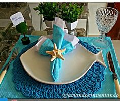 Blue Table set  fish - sousplat azul croche peixe mesa posta