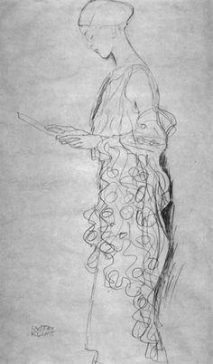 Gustav Klimt / Drawings 2 / Profilansicht einer lesenden Frau 1907