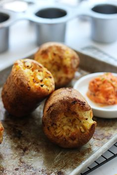 Fool Proof Popovers with Charred Corn, Pancetta and Cheddar with Sun-Dried Tomato Butter by cookingforkeeps #Popovers #Corn #Pancetta #Cheddar